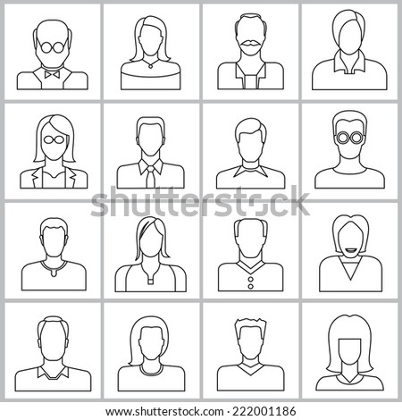 people icons set, office people icons, user icons in line theme design