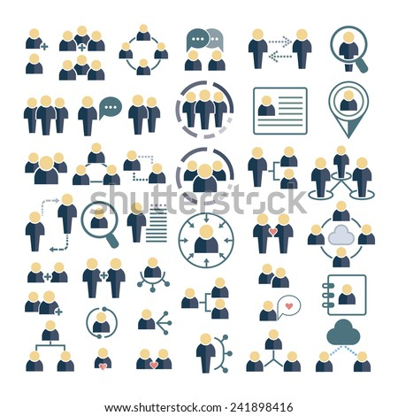 people icons set, social concept icons - stock vector