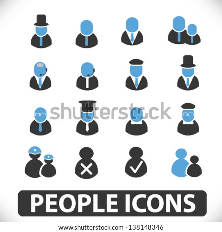 people icons: social users, assistance, person, teamwork, avatar, member, human resources, heads,  icons - stock vector