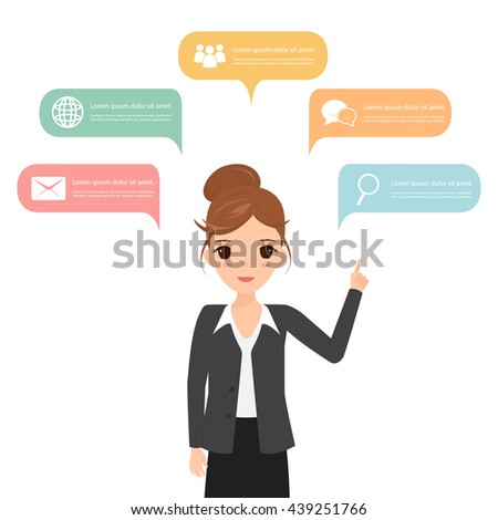 People icons with chat speech bubble infographic concept. Business woman think. - stock vector