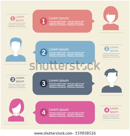people icons with chat speech bubbles infographic concept - stock vector