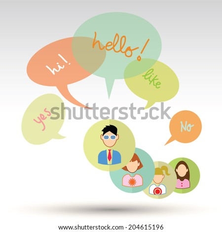 people icons with colorful dialog speech bubbles - stock vector