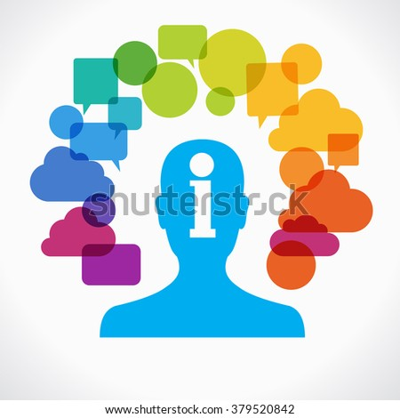 People icons with colorful dialog speech bubbles . The file is saved in the version AI10 EPS. This image contains transparency. - stock vector