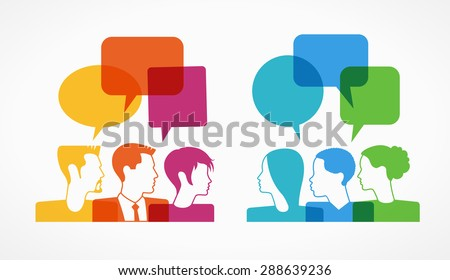 people icons with colorful dialog speech bubbles . This image contains transparency.   - stock vector