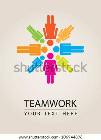 People icons with colors, conceptual teamwork, vector illustration - stock vector