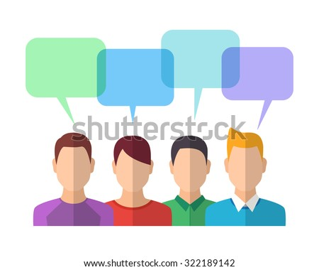 People Icons with Dialog Bubbles. Team Concept. Flat Style Modern Design. Vector Illustration - stock vector