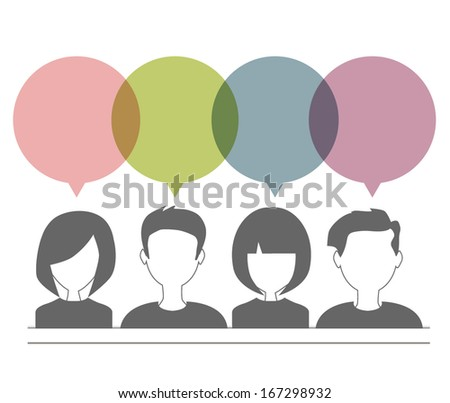 people icons with dialog speech bubbles - stock vector