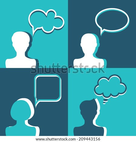 People icons with dialog speech bubbles. Vector illustration. Flat design - stock vector