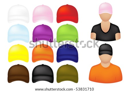 People Icons With Set Of Colorful Baseball Caps, Isolated On White - stock vector