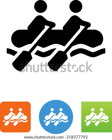 People in a white water raft. Vector icons for video, mobile apps, Web sites and print projects. - stock vector