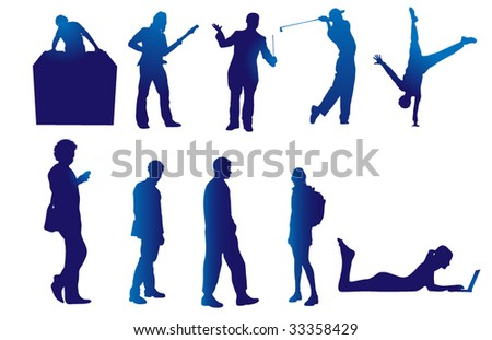 People in Action - stock vector