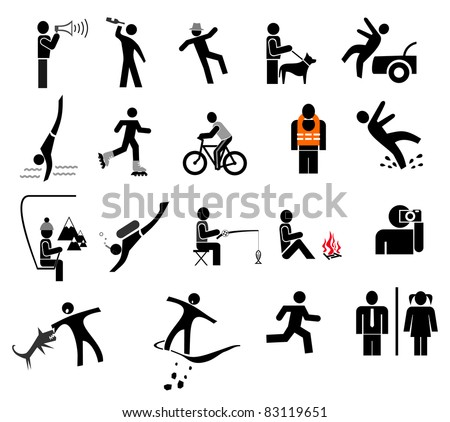 People in action - set of isolated vector icons. Black and white simple pictograms. - stock vector