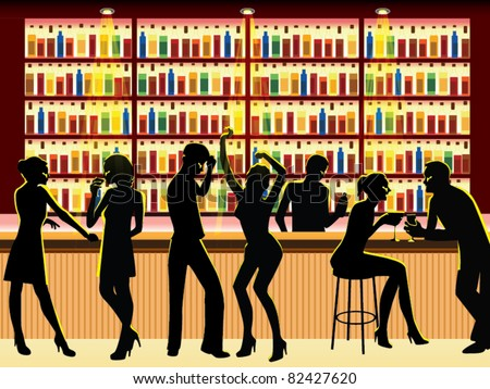 people in bar vector - stock vector