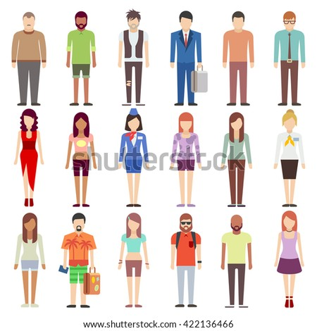 People in casual clothes flat icons set. Vector illustration