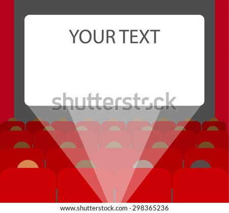 People in chairs watching movie, cinema auditorium. Empty cinema screen with audience. Light of projector. Copy space for your text, vector illustration - stock vector