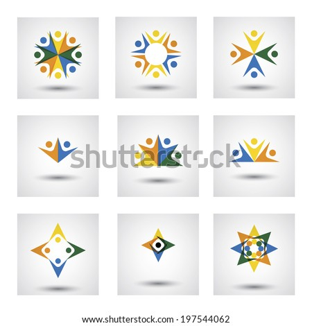 people in circle, community or team of kids, employees vector icons. This graphic illustration also represents unity, teamwork, leadership, leader qualities, joy, happiness, excitement & euphoria - stock vector