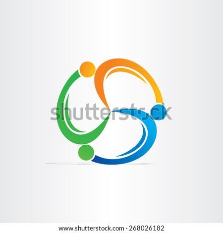 people in circle teamwork symbol - stock vector