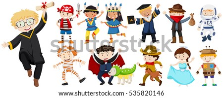 People in different costumes illustration