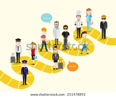 People in Different Occupation Vector Illustration  - stock vector