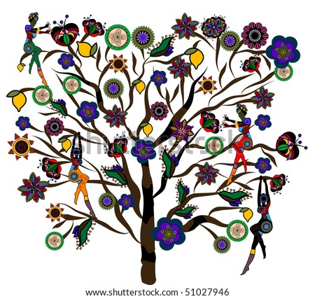 People in ethnic style collecting delicious fruit with a magical tree - stock vector