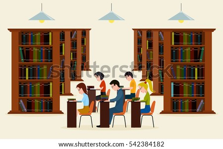 People in library. Concept of education. Reading in library a vector illustration.