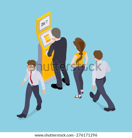 People in line in front of the payment terminal. Illustration suitable for advertising and promotion - stock vector