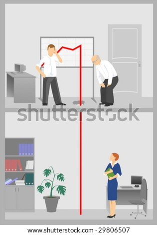 People in office in critical situation - stock vector