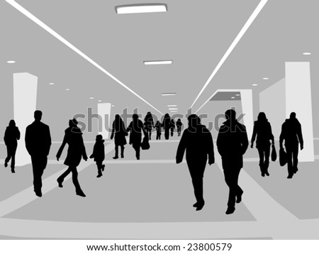 people in shopping center - stock vector