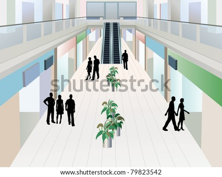 people in shopping mall with two floors, vector - stock vector