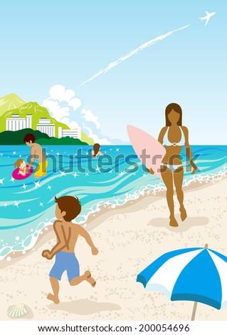People in Summer beach,Vertical - stock vector
