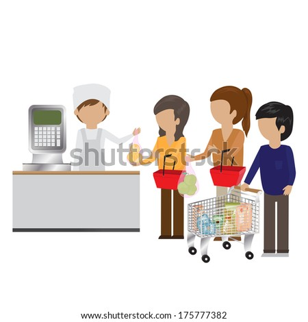 People In Supermarket At Weight Scale - Isolated On White Background - Vector Illustration, Graphic Design Editable For Your Design - stock vector