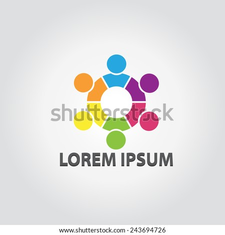 People in Team logo. People together celebrating, Leader concept. Corporate Management Vector symbol. Social network. - stock vector