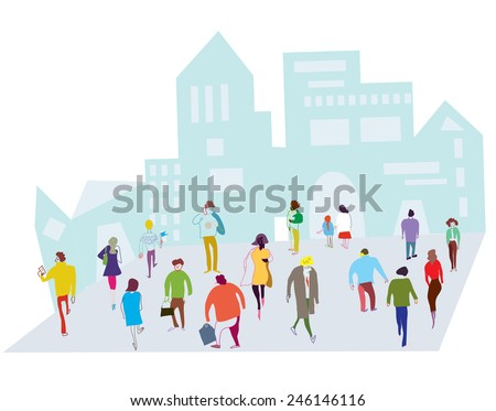 People in the city illustration - crowd on the street - stock vector