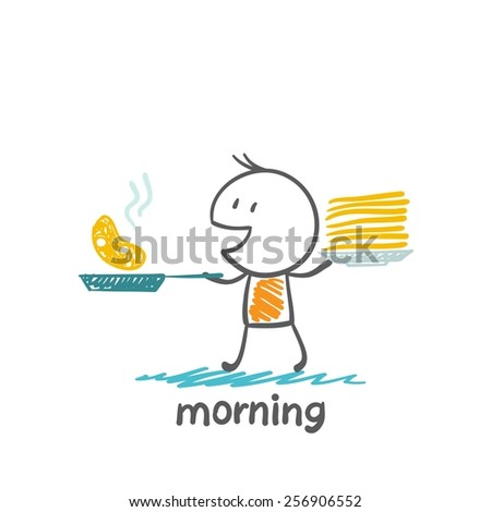 people in the morning preparing pancakes illustration - stock vector