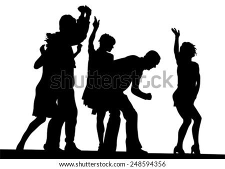 People in theatrical costume on a white background - stock vector