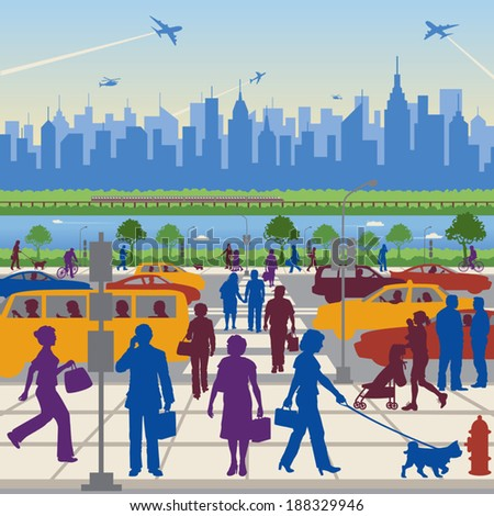 People in Transit -- walking and driving in vehicles, and in the background, a city on a river with skyscrapers, railway, ships and aircraft.  - stock vector