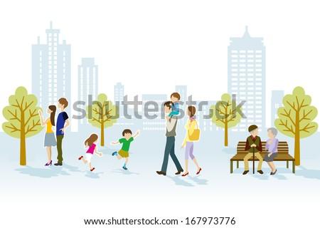 People in Urban park - stock vector