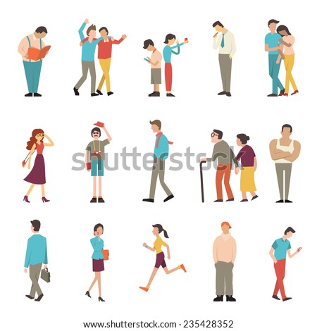 People in various lifestyles, businessman, woman, teenager, traveler, friends, sport woman, hip hop guy, senior couple, lovers. Character set with flat design style. - stock vector