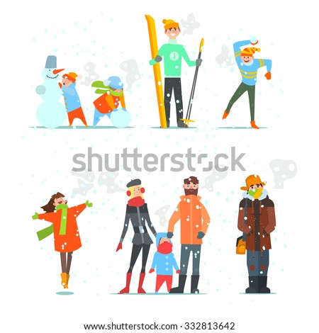 People in Winter and Winter Activities. Vector Illustration Set.  - stock vector