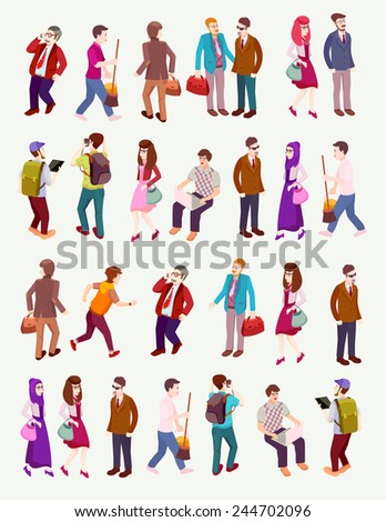 people isometric vector with  several occupation  - stock vector