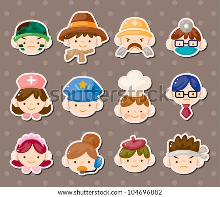 people job face stickers - stock vector