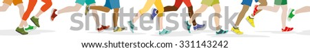 People jogging, can also be used as a continuous panoramic - stock vector