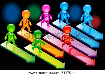 people joining together to form one team in one direction - stock vector