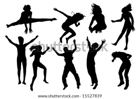 people jumping vector