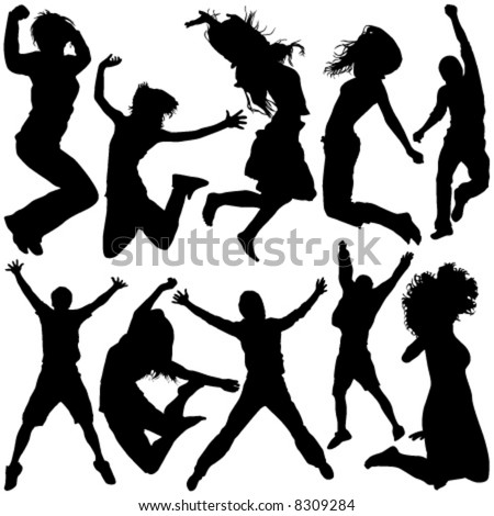 people jumping vector - stock vector