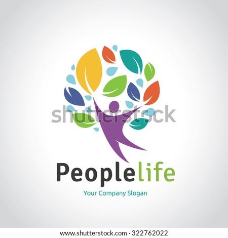 People Life Vector Logo Template - stock vector
