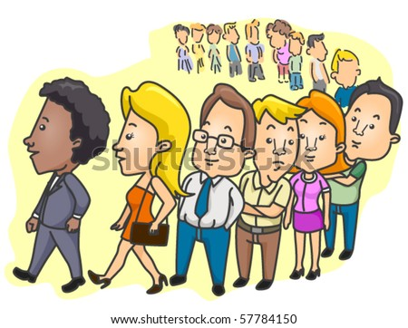 People Lining Up - Vector - stock vector