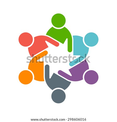 People logo. Group of five in a circle - stock vector