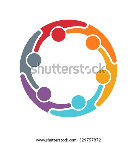 People logo. Group of six persons in circle - stock vector