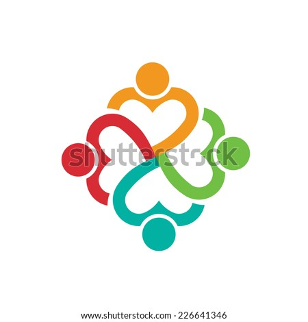 People logo heart 4 persons.Concept of love.Vector icon - stock vector